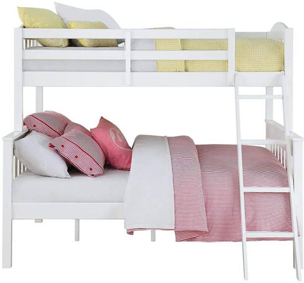 APRODZ Mango Wood Heldcys Kids Bunk Beds with Storage for Bedroom   Cream Finish Solid Wood Bunk Bed