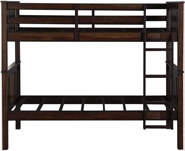 APRODZ Sheesham Wood Beerar Kids Bunk Beds with Ladder for Bedroom   Brown Finish Solid Wood Bunk Bed