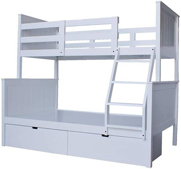 APRODZ Solid Wood Large Dalton Bunk Bed with 2 Drawers for Storage Solid Wood Bunk Bed