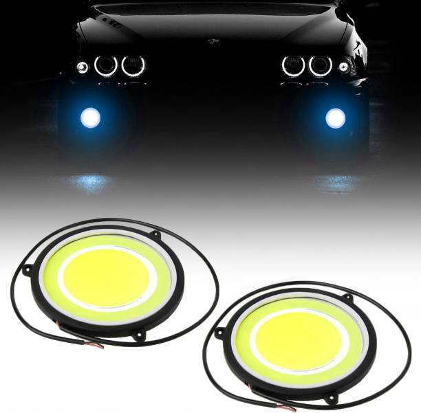 CARZEX Car DRL Daytime Running Light with Turn Indicator Signal Flexible Round Shape White LED Lights Driving lamp COB Lights car-Styling 2pcs 12V DC For All Cars Car Fancy Lights