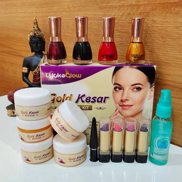 Lifesy Nutra Gold Kesar Facial Kit [250g] + Nail Polish [4pcs] + Lipstic [4pcs] + Hair Serum 50ml [1pcs] + Black Kajal [1pcs]
