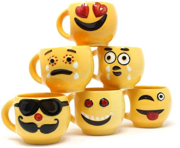 The Earth Store Pack of 6 Ceramic Complete Emoji Series Coffee Ceramic Mug
