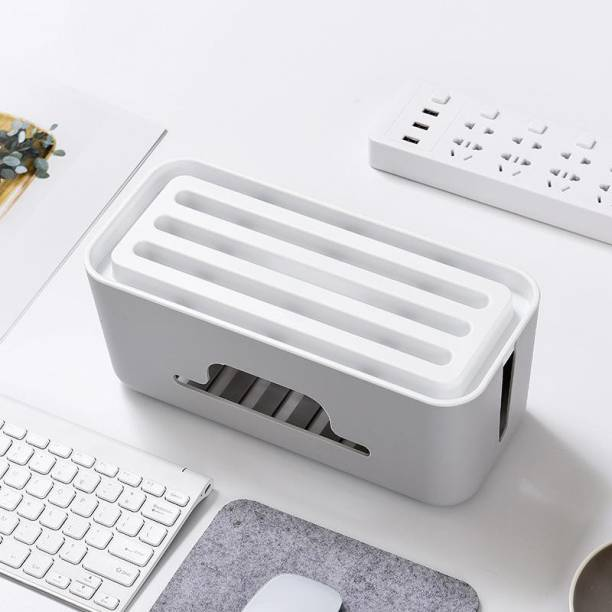 MOJIBO 2 Compartments plastic Cable Management Box - Power Strip, Cords, Surge Protector Hiding Cover Organizer - Hide Loose Wire for Home Office Desk Desktop Floor & Keep Children and Pet Safe - White