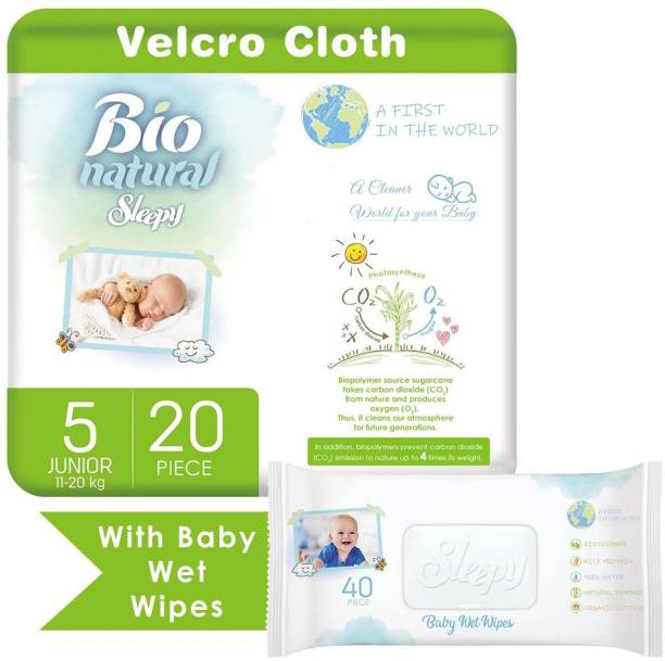 sleepy Bio Natural Tape Diapers And Baby Wet Wipes Combo Pack, Natural And Organic Products, Junior, Size 5 (11-20 KG), Pack Of 20 Diapers And 40 Wet Wipes.
