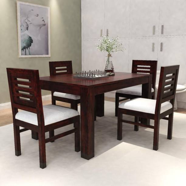 Taskwood Furniture 4 SEATER WOODEN DINING SET IN DARK BROWN FINISH AND OFF WHITE CUSHIONS FOR DINING ROOM. Solid Wood 4 Seater Dining Set
