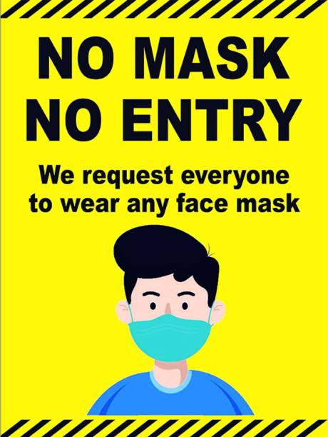 DynamoPrints 2 Pcs No Mask No Entry - Self Adhesive High Quality Sticker Sign Board Emergency Sign