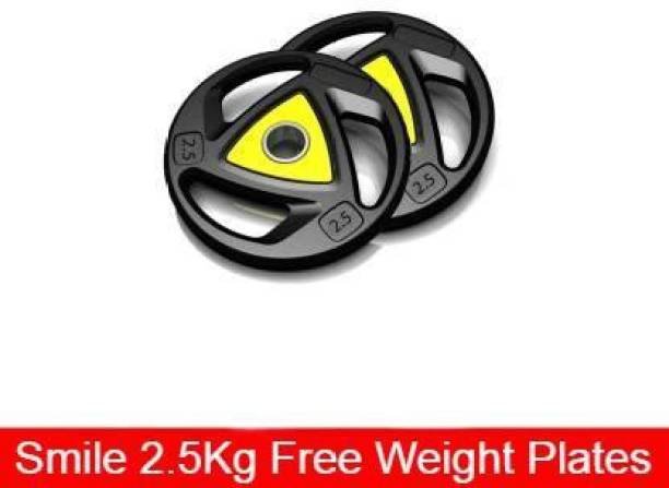 Smile Fitness Rubber Coated Professional Weight Plate for Exercise Bar (2.5x2= 1 Pair) Blue, Yellow Weight Plate