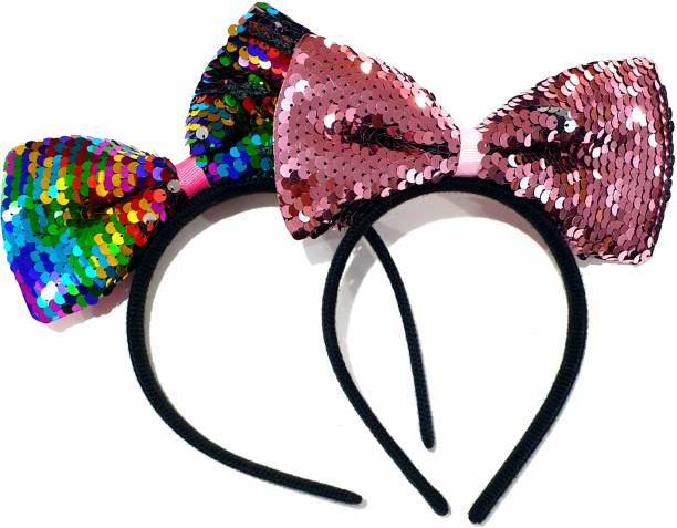 RosaStella Rosa Stella Multicolor Sequins Ear Hairband Headband Party for Baby Girls, Girl Women Knot Band Hair Accessories - 2 Pieces Hair Band