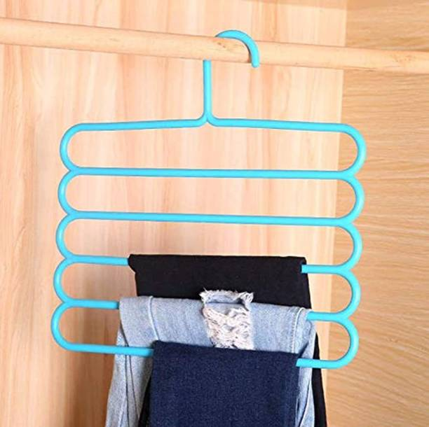 lukzer 1PC 5 Layer Hanger for Clothes Wardrobe Storage Rack Closet Space Saving Organizer Plastic Hanger