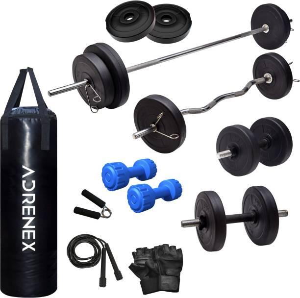 Adrenex by Flipkart 30 kg PVC COMBO 343 WB with Unfilled Punching Bag & PVC Dumbbells Home Gym Combo