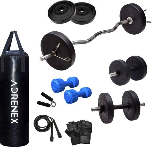 Adrenex by Flipkart 20 kg PVC COMBO 3 WB with Unfilled Punching Bag & PVC Dumbbells Home Gym Combo