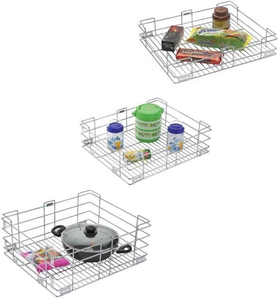 SMART SLIDE 15 x 16 Inch Stainless Steel Plain Kitchen Basket for Modular Kitchen / Kitchen Trolley / Kitchen Drawer / Kitchen Cabinet / Kitchen Trolley / Storage Organizer for Kitchen Containers Kitchen Rack
