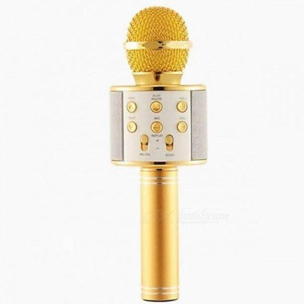 little monkey High qauility WS-858 Wireless Bluetooth Microphone Connection Player Speaker 2-in1 (ROSE GOLD) WIRELESS