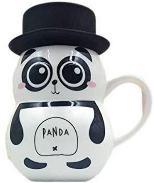 STYLE & FASHION PANDA Cute 3D Embossed eye Panda Ceramic Coffee Milk Tea Cup with Funny Lid Perfect Novelty Gift for Mom, Girls, Girlfriend, Wife, Panda Lovers Ceramic Coffee (400 ml) Ceramic Coffee Mug