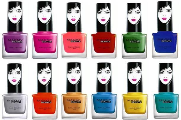 MAKMY BEAUTY Quick Dry Long Lasting High Shine Glossy Nail Polish Set Of 12 A4 Multicolor