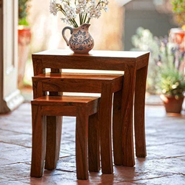 BM Wood Furniture Sheesham Wood Nesting Tables for Living Room   Wooden Bedside End Table   Set of 3 Stools   Natural Brown Solid Wood Nesting Table