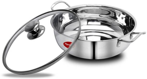 Pigeon Special Stainless Steel Kadai With Glass Lid 26 cm Kadhai 26 cm with Lid