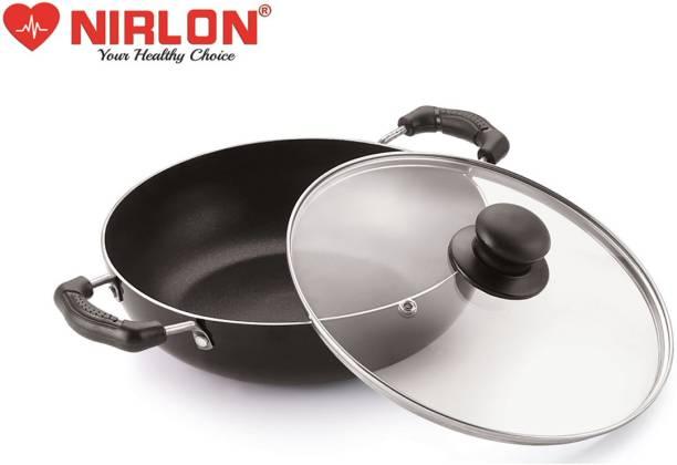 NIRLON Induction Base COOKWARE DEEP KADHAI with Glass LID 3 LTR Kadhai 25 cm diameter with Lid 3 L capacity