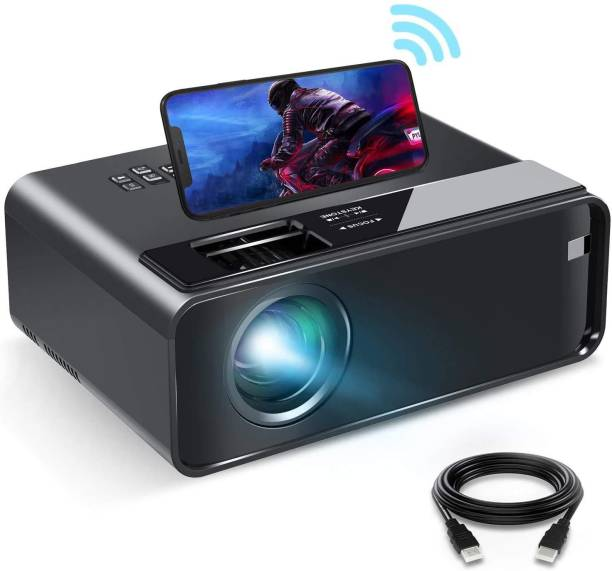 """IBS WIFI Mini Projector ,1080P HD Portable Projector with 4600 Lux and 200"""" Screen, Compatible with Android/iOS/HDMI/USB/SD/VGA Portable Projector, Projector with Synchronize Smartphone Screen Portable Projector"""