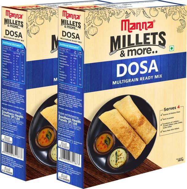 Manna Instant Multigrain Millet Dosa Ready Mix   Dosa Batter   180g x 2 Packs, Serves 8   100% Natural Ingredients   Made with Foxtail Millet, Little Millet & Kodo Millet 360 g