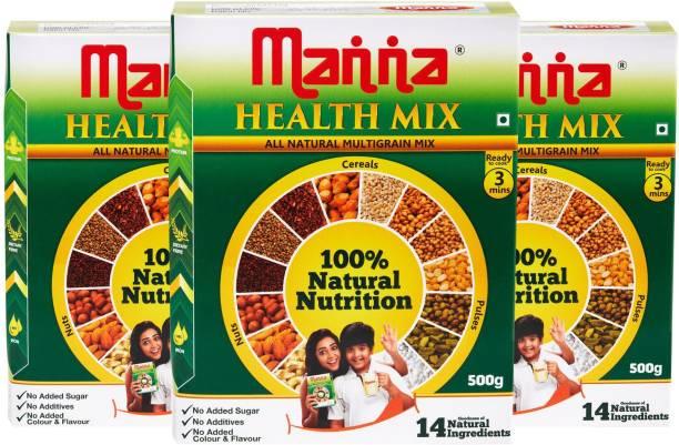 Manna Millet Health Mix 1.5Kg ( 500g X 3 Packs)   Sathu Maavu for Babies   100% Natural Millet Multigrain Nutrition Drink for Kids   14 Natural Ingredients 1500 g