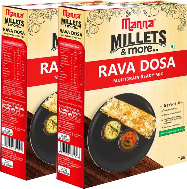 Manna Instant Multigrain Rava Dosa Ready Mix   Rava Dosa Batter   180g x 2 Packs, Serves 8   100% Natural Ingredients   Made with Little Millet, Kodo Millet, Jowar 360 g
