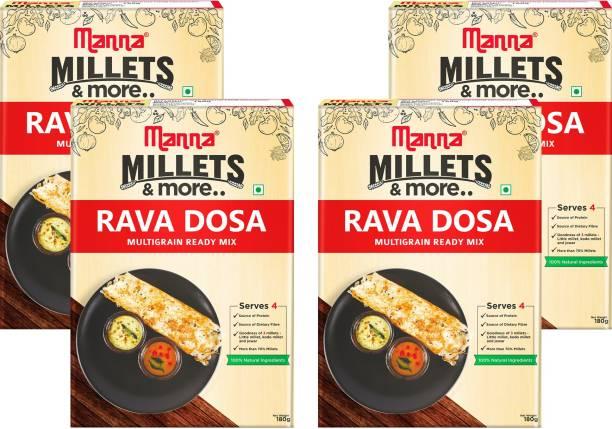 Manna Instant Multigrain Rava Dosa Ready Mix   Rava Dosa Batter   180g x 4 Packs, Serves 16   100% Natural Ingredients   Made with Little Millet, Kodo Millet, Jowar 720 g