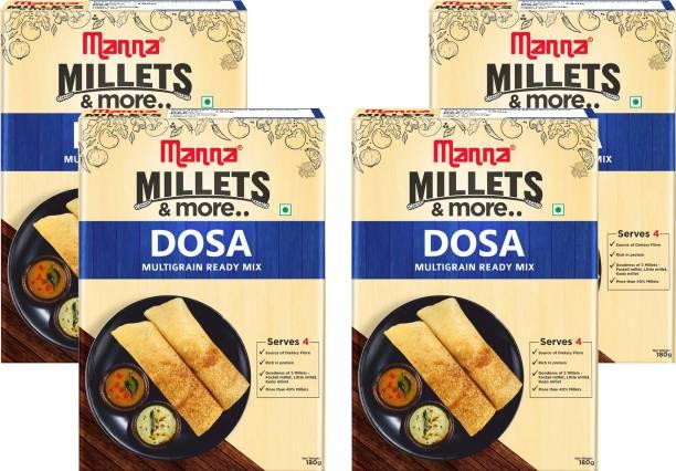 Manna Instant Multigrain Millet Dosa Ready Mix   Dosa Batter   180g x 4 Packs, Serves 16   100% Natural Ingredients   Made with Foxtail Millet, Little Millet & Kodo Millet 720 g
