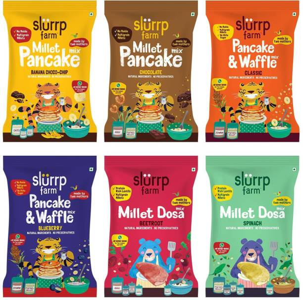 Slurrp Farm Millet Pancake and Millet Dosa Mix Trial Pack Combo, No Maida No White Rice - Banana Choco-chip, Chocolate, Blueberry and Classic Vanilla Pancake Mix, Spinach and Beetroot Millet Dosa Mix, 300g (50g each) 300 g
