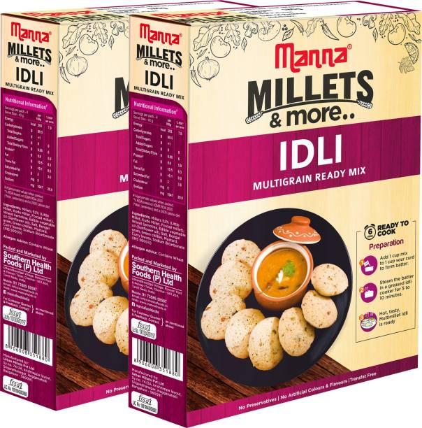Manna Instant Millet Idli Ready Mix   Idli Batter   180g x 2 Packs, Serves 8   100% Natural Ingredients - No Preservatives   No artificial colours, flavours or additives   Made with Foxtail Millet, Kodo Millet, Little Millet 360 g