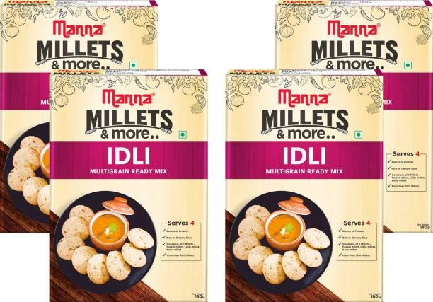 Manna Instant Millet Idli Ready Mix   Idli Batter   180g x 4 Packs, Serves 16   100% Natural Ingredients - No Preservatives   No artificial colours, flavours or additives   Made with Foxtail Millet, Kodo Millet, Little Millet 720 g