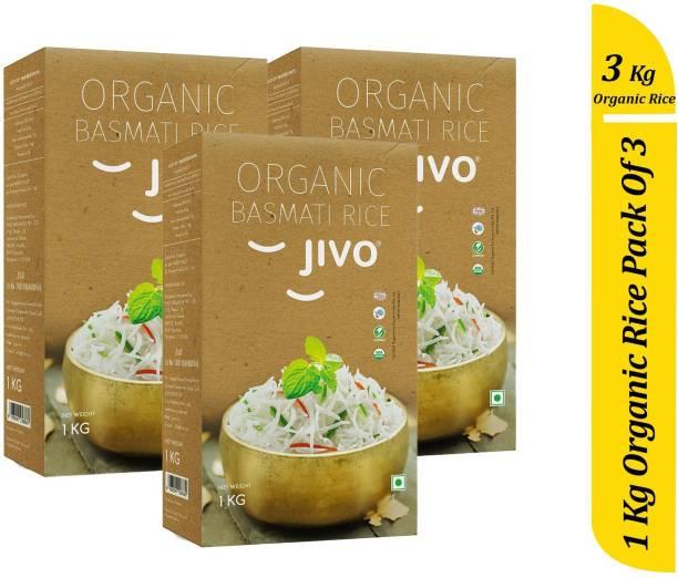 Jivo Organic Long Grain Basmati Rice Certified By Ecocert India 1 KG Per Packet (Pack of 3) Basmati Rice (Long Grain, Unpolished)