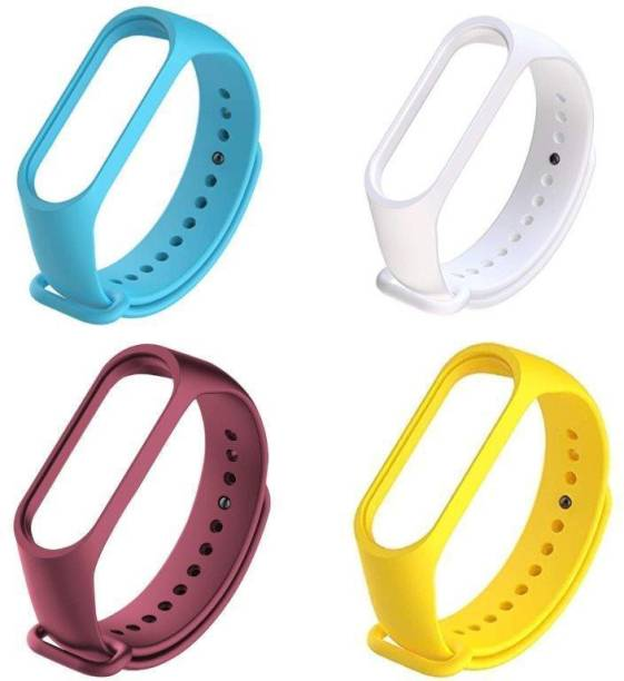 ARNO silicon band pack of 4 strap (Blue, White, Red Wine, Yellow) Smart Band Strap