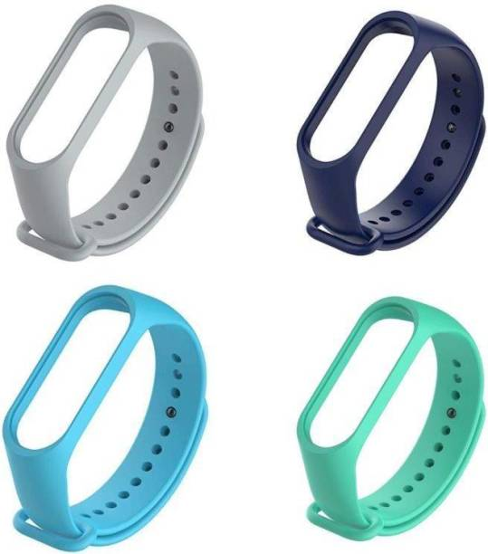 ARNO silicon band pack of 4 strap (Grey, Navy Blue, Blue, Green) Smart Band Strap