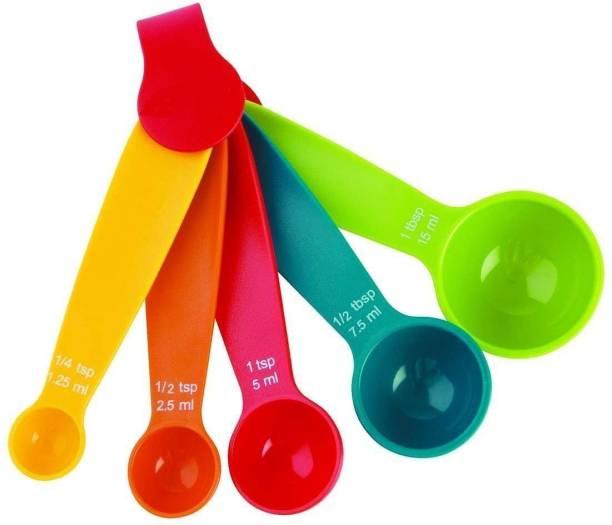 EXORNATOR 5 Pcs of Mini Measuring Spoon Set - Multi Coloured Kit, Baking & Cooking Kitchen Utensil Tools Plastic Measuring Spoon Set