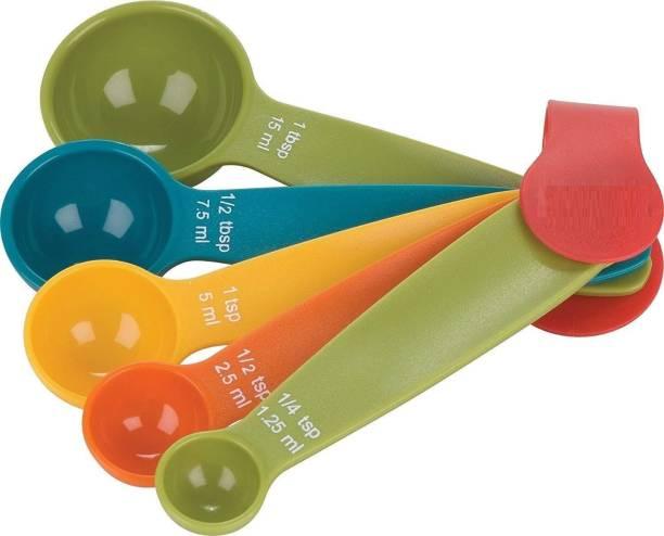 EXORNATOR Plastic Multi Purpose Mini Measuring Spoon Set of 5 Pcs for Baking Cooking Kitchen Utensil Tools Plastic Measuring Spoon Set