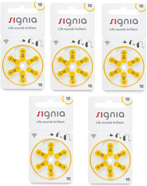 Signia Size 10 Hearing Aid Batteries (5 Packets = 30 batteries) Stethoscope Case