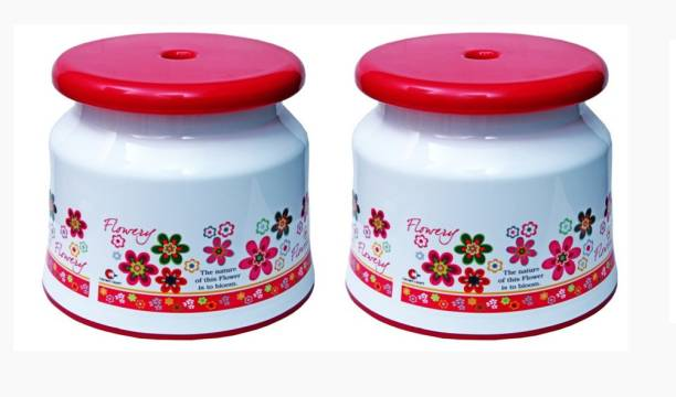 avishi Plastic Bathroom Stools pack of 2 with printed Floral design {Pink) Bathroom Stool