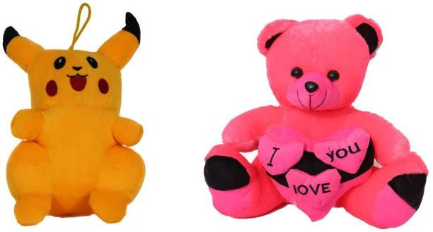 tranding gifts Soft pika and red teddy bear 27cm pack toy for kids Birthday Gift/Boy/Girl  - 27 cm