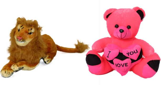 tranding gifts Soft Lion and red tedd bear 18cm pack toy for kids Birthday Gift/Boy/Girl  - 18 cm