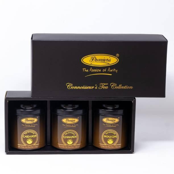 Premiers 3-in-1 Tea Gift Set | Masala Chai Flavoured Tea + Cardamom Flavoured Tea + Cinnamon Flavoured Tea | 186 Cups | 375 Grams | Loose Teas in Metal Caddy | PM Series Tea Festive Gift Box