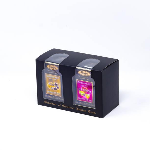 Premiers 2-in-1 Tea Gift Set | Masala Chai Flavoured Tea + Birthday Special Tea | 100 Cups | 200 Grams | Loose Teas in Metal Caddy | PMSS Series Tea Festive Gift Box