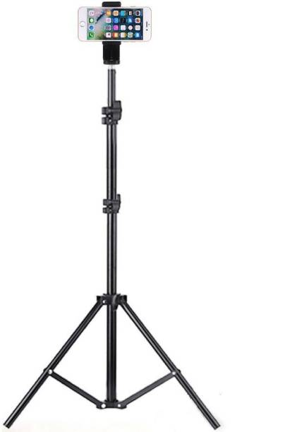 OBDIR Aluminium Adjustable Portable 6.9 Feet(210cm) strong Metal /camera stand,beauty ring fill light stand, photography umbrella ,selfie video recording [2.1 meters tripod] with mobile holder clip Tripod, Tripod Kit, Tripod Bracket