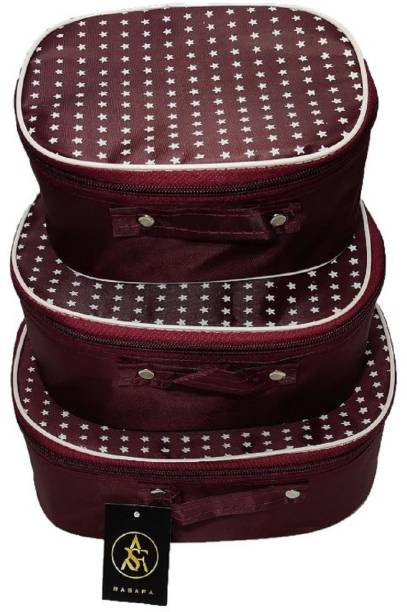 Rasafa Pack of 3 supreme Quality Vanity Box Cosmetic Box, Storage Case, Bangle Box, Makeup Kit Vanity Box