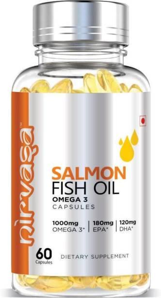 Nirvasa Salmon Fish Oil Capsules for Men & Women with Omega 3 – 60 Capsules