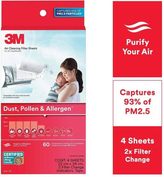 3M AC Filters for converting Split AC into air Purifier [Dust, Pollen & Allergens, 4 Sheets, 2 Change Indicators] Air Purifier Filter