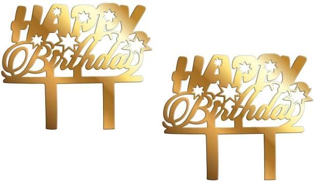 Tuelip Set of 2 Golden Happy Birthday Cake Topper for Birthday Decoration/ Happy Birthday Party Cake Decoration Item / Special Cake Decoration for Girls / Boys / Kids / Wife / Husband Cake Topper