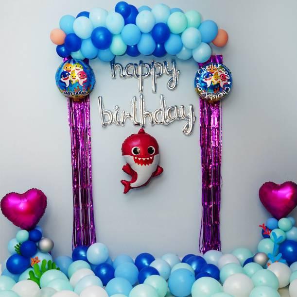 CherishX.com Solid Baby Shark Theme Balloons for Birthday Decoration Combo - Pack of 85 - Baby shark shape, Cursive Happy Birthday Foil Balloon, Curtain Frills, Pastel & Metallic Balloon, Fairy Light Balloon Bouquet