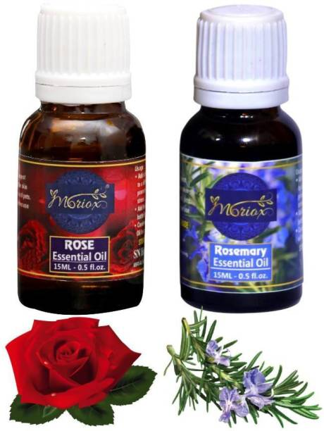 MORIOX Rose Oil and Rosemary essential oils for Hair,Skin & Aromatherapy 100% Pure & Natural Oils