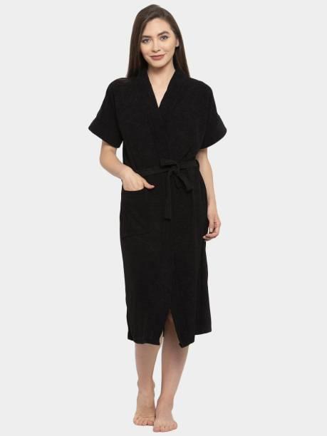 Flipkart SmartBuy Black Free Size Bath Robe